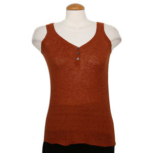Red Linen Delave Rib Henley Shell Tank Top 2X